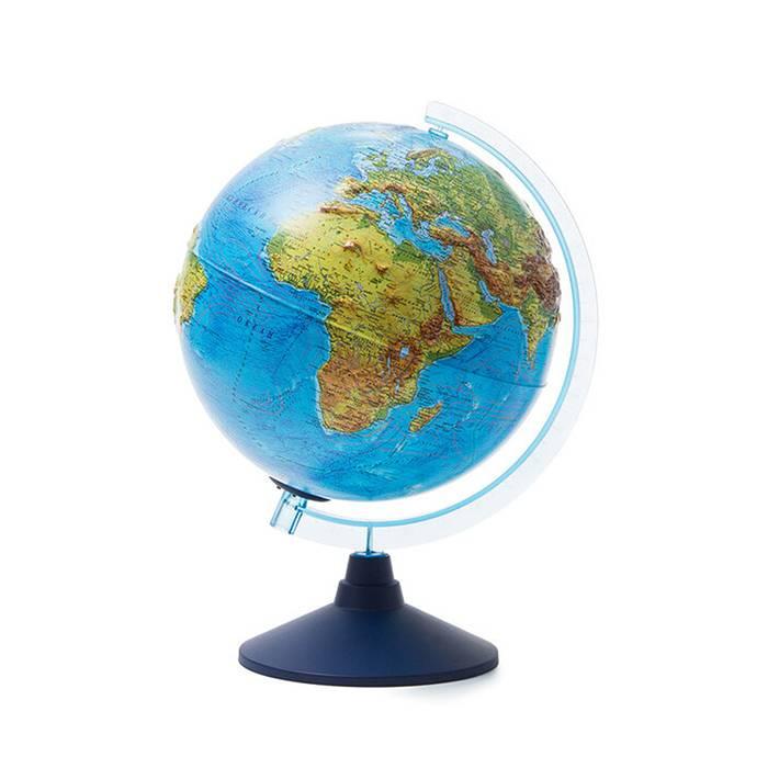 Интерактивный глобус Земли физико-политический рельефный 250 мм. с подсветкой от батареек