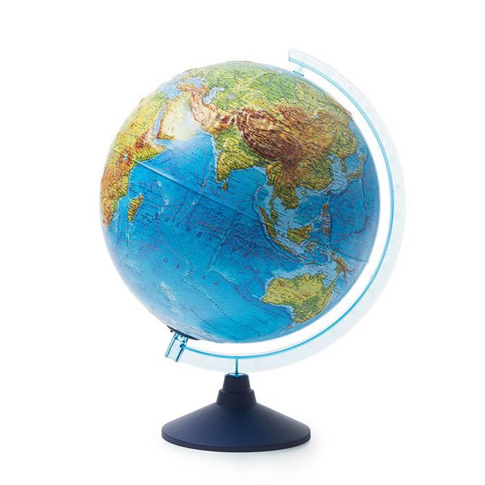 Интерактивный глобус Земли физико-политический рельефный 320 мм. с подсветкой от батареек
