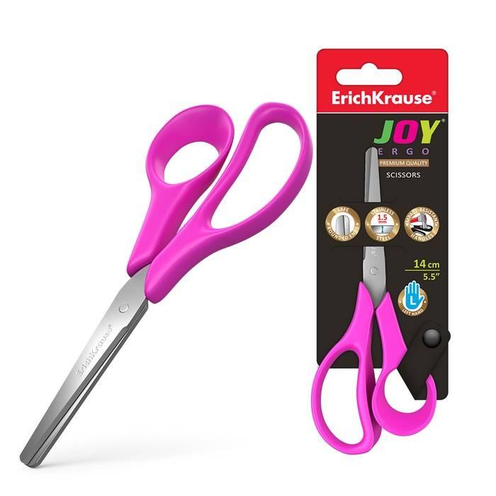 Ножницы школьные ErichKrause JOY ERGO 14 см, для левшей, эргономичные ручки