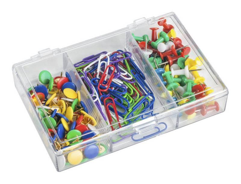 Набор канцеляркий из 3-х предметов (скрепки 28 мм цветные — 70 шт, кнопки силовые цветные — 40 шт, кнопки цветные — 70 шт.)