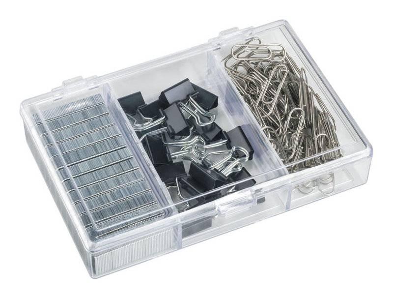 Набор канцеляркий из 3-х предметов (скрепки 28 мм ник. — 70 шт, зажимы для бумаг 15 мм — 15 шт, скобы для степлера №24/6 — 1200 шт)