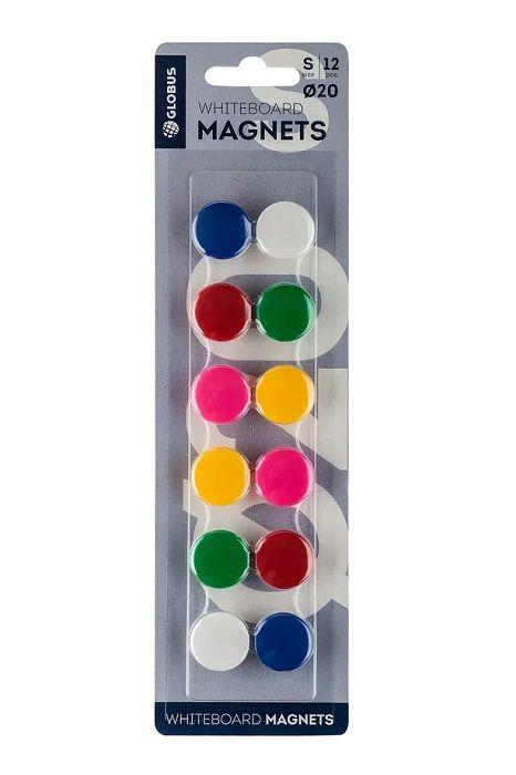 Набор магнитов цветных 20 мм 12 шт. (блистер)