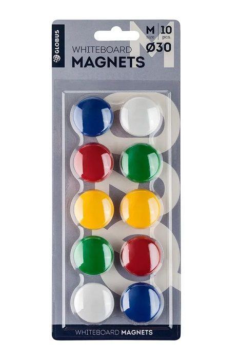 Набор магнитов цветных 30 мм 10 шт. (блистер)