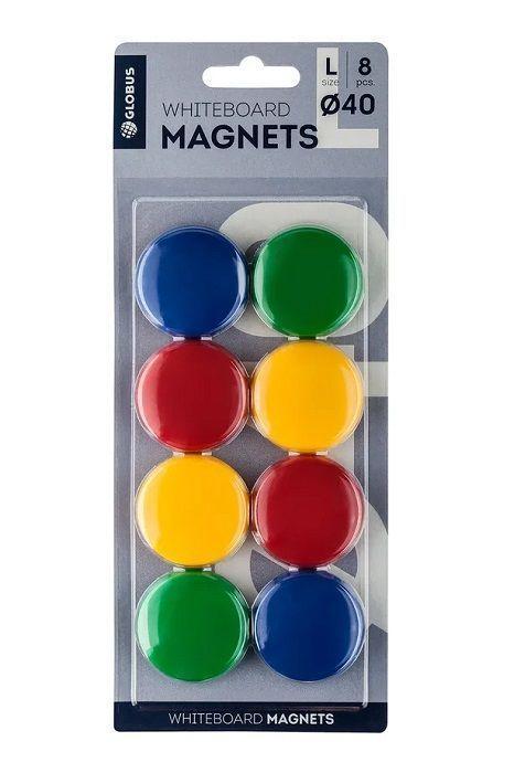 Набор магнитов цветных 40 мм 8 шт. (блистер)