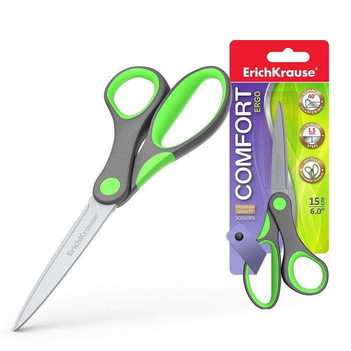 Ножницы ErichKrause® Comfort 150 мм, с эргономичными прорезиненными ручками, ассорти
