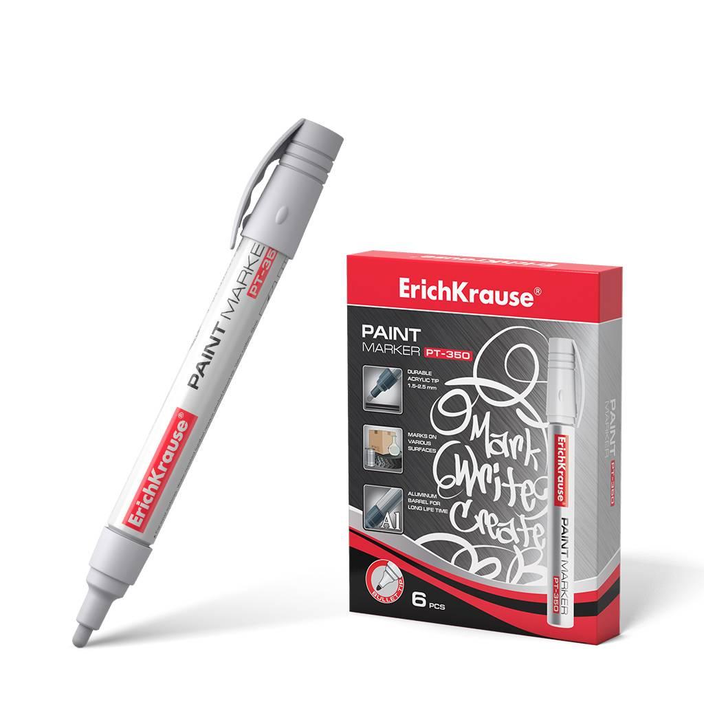 Маркер-краска ErichKrause® PT-350, цвет чернил белый (коробка 6 шт.)