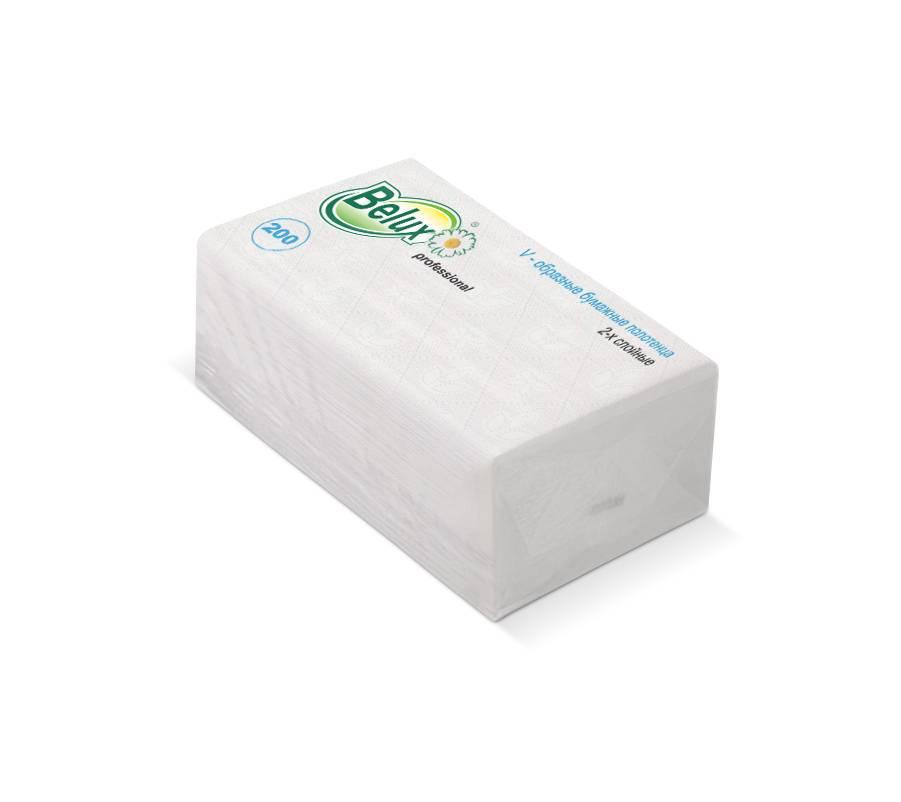 Полотенце бумажные BELUX, V(ZZ)-сложение, 2 слойные, 22х24 см, 200 л., белый