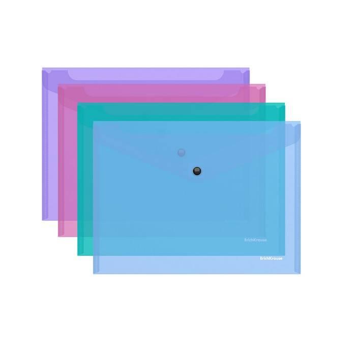 Пластиковый конверт, В5, ErichKrause VIVID, на кнопке, тонированный пластик, ассорти