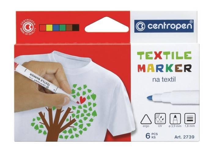 Набор текстильных маркеров, CENTROPEN, ассорти, круглый, 6 шт