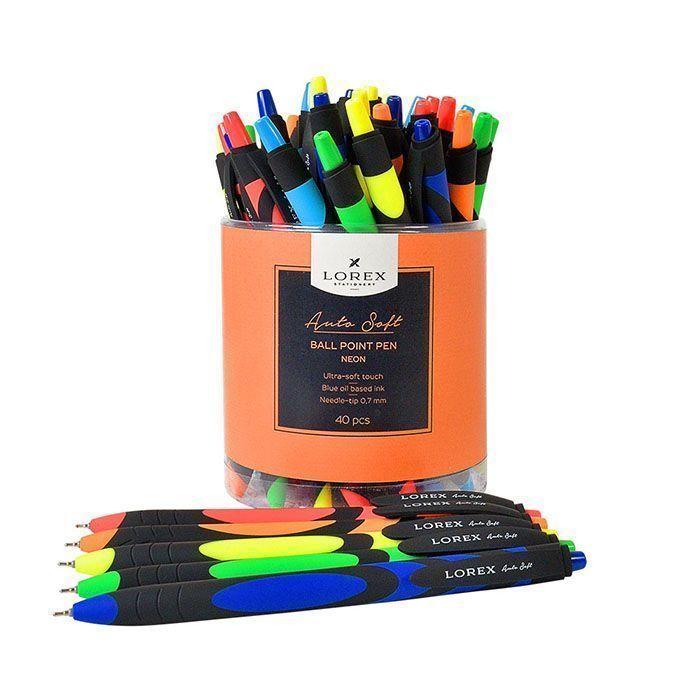Ручка масляная автоматическая LOREX NEON, серия Auto Soft, круглый прорезиненный корпус, синие чернила, игловидный наконечник 0,70 мм, цвет корпуса ассорти.
