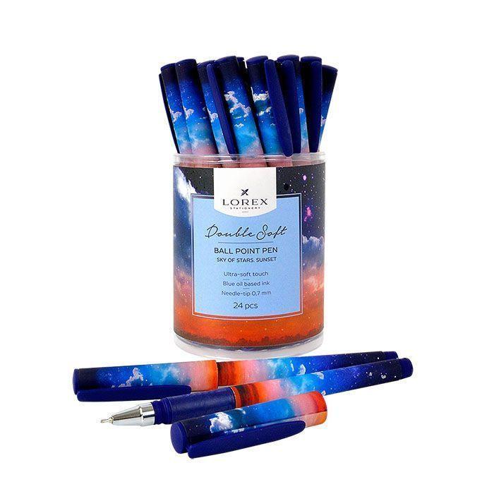 Ручка масляная LOREX SKY OF STARS.SUNSET Double Soft синяя, игловидный наконечник, 0,7 мм