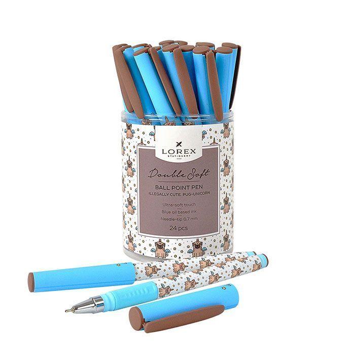Ручка масляная LOREX ILLEGALLY CUTE.PUG-UNICORN Double Soft синяя, игловидный наконечник, 0,7 мм