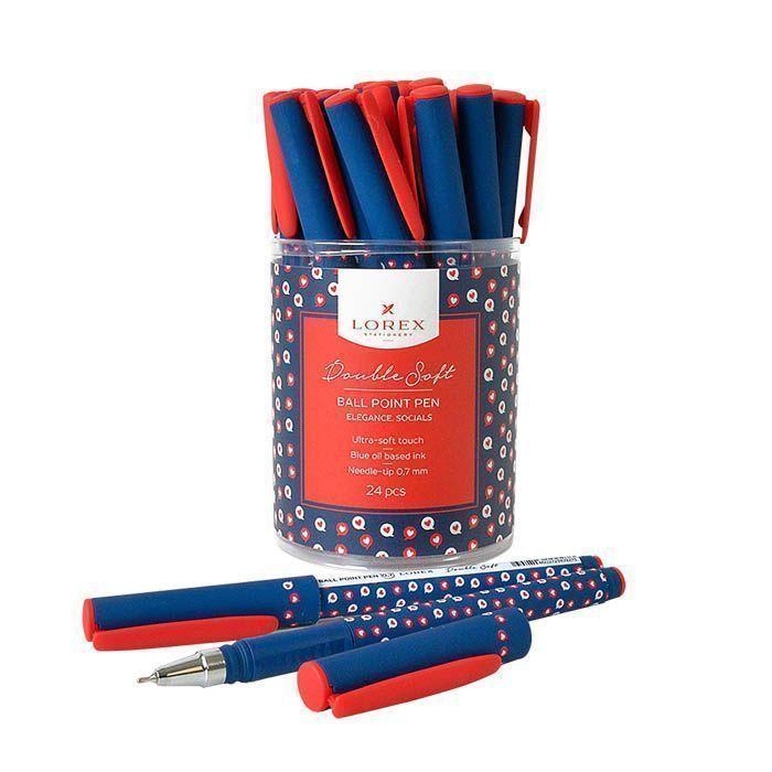 Ручка масляная LOREX ELEGANCE.SOCIALS Double Soft синяя, игловидный наконечник, 0,7 мм