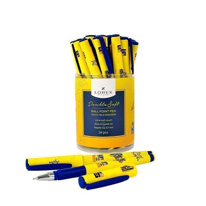 Ручка масляная LOREX YOUTH.WILD SNEAKERS Double Soft синяя, игловидный наконечник, 0,7 мм