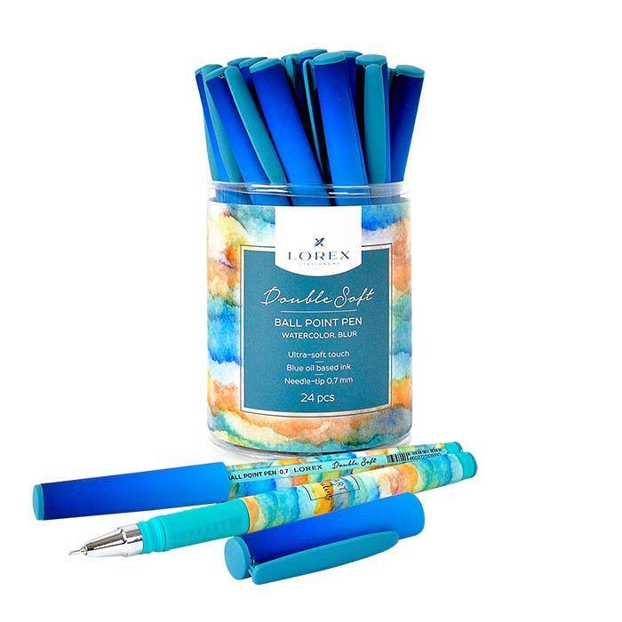 Ручка масляная LOREX WATERCOLOR.BLUR Double Soft синяя, игловидный наконечник, 0,7 мм