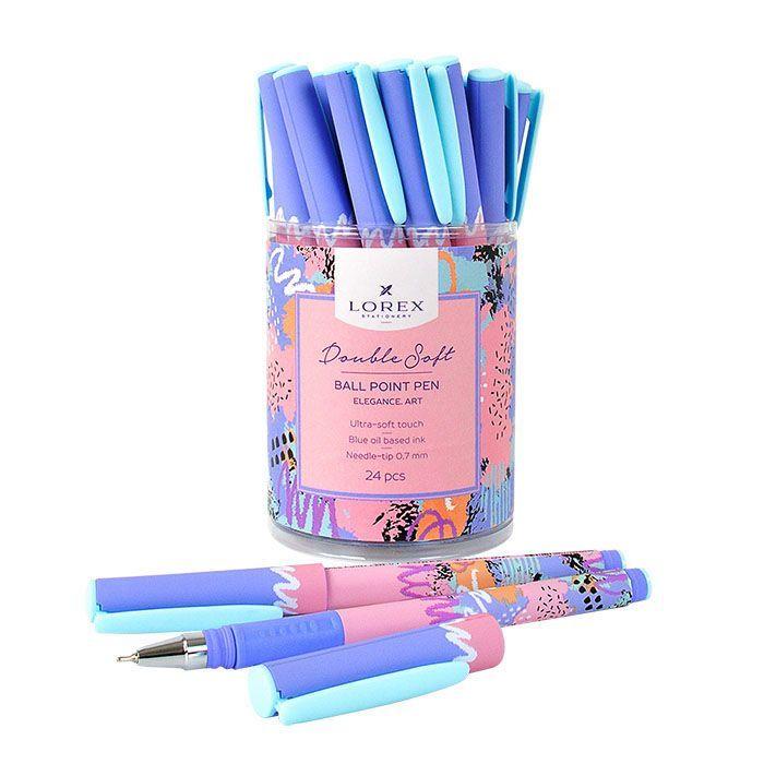 Ручка масляная LOREX ELEGANCE.ART Double Soft синяя, игловидный наконечник, 0,7 мм