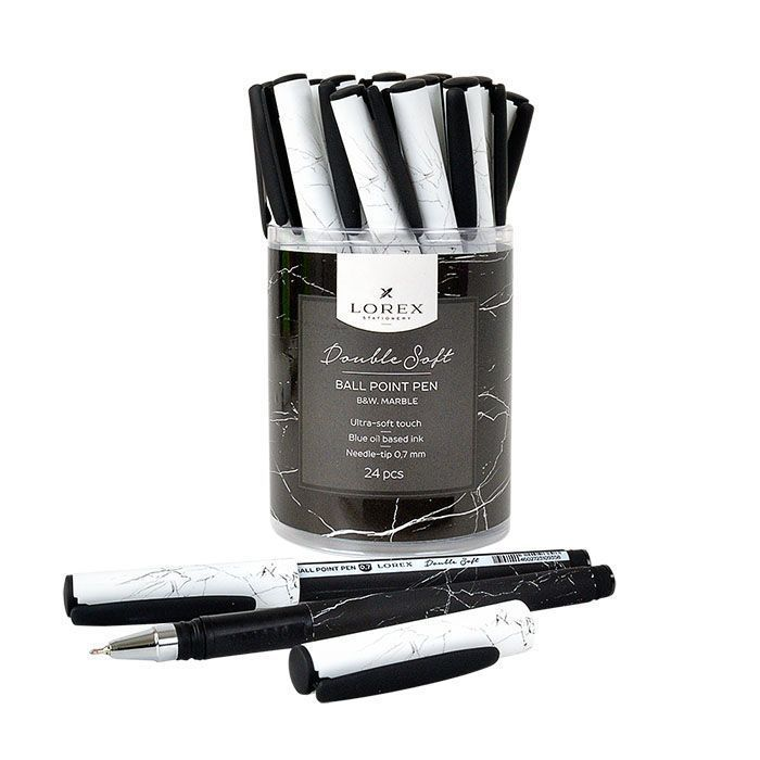 Ручка масляная LOREX B&W.MARBLE Double Soft синяя, игловидный наконечник, 0,7 мм