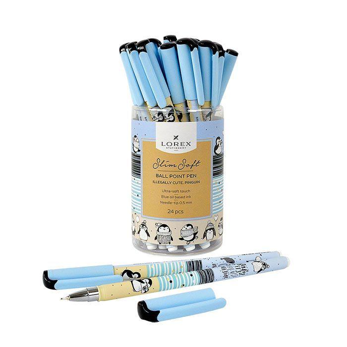 Ручка маслян. LOREX ILLEGALLY CUTE. PINGUIN, серия «Slim Soft», круглый прорезиненный корпус, синие чернила, игловидный наконечник 0,5мм.