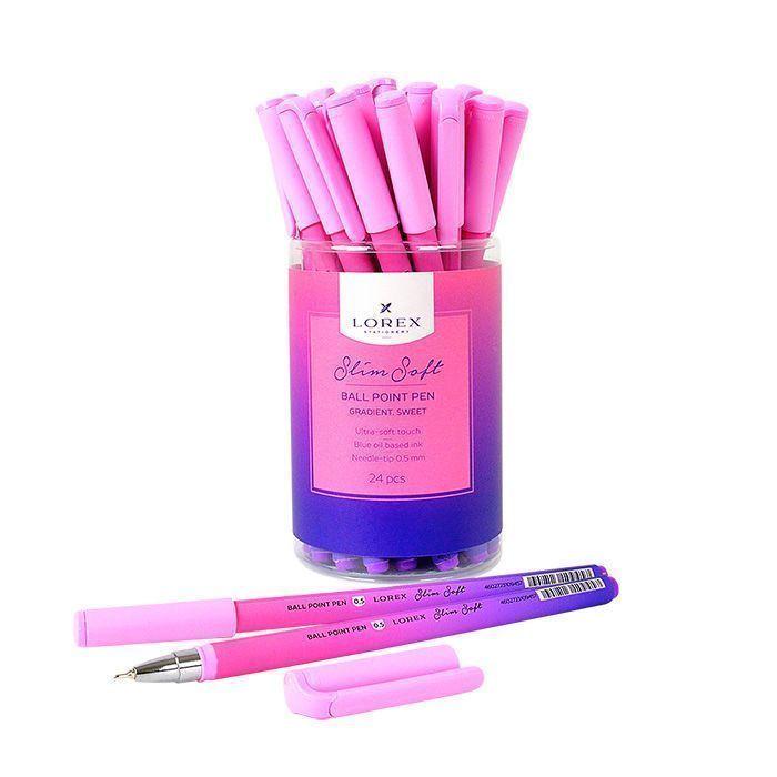 Ручка маслян. LOREX GRADIENT. SWEET, серия «Slim Soft», круглый прорезиненный корпус, синие чернила, игловидный наконечник 0,5мм.