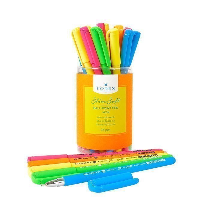 Ручка масляная LOREX NEON Slim Soft синяя, игловидный наконечник, 0,5 мм
