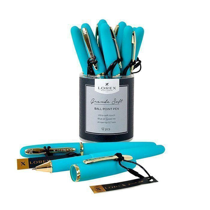 Ручка масляная LOREX бирюзовый корпус, Grande Soft синяя, конусовидный наконечник, 0,7 мм