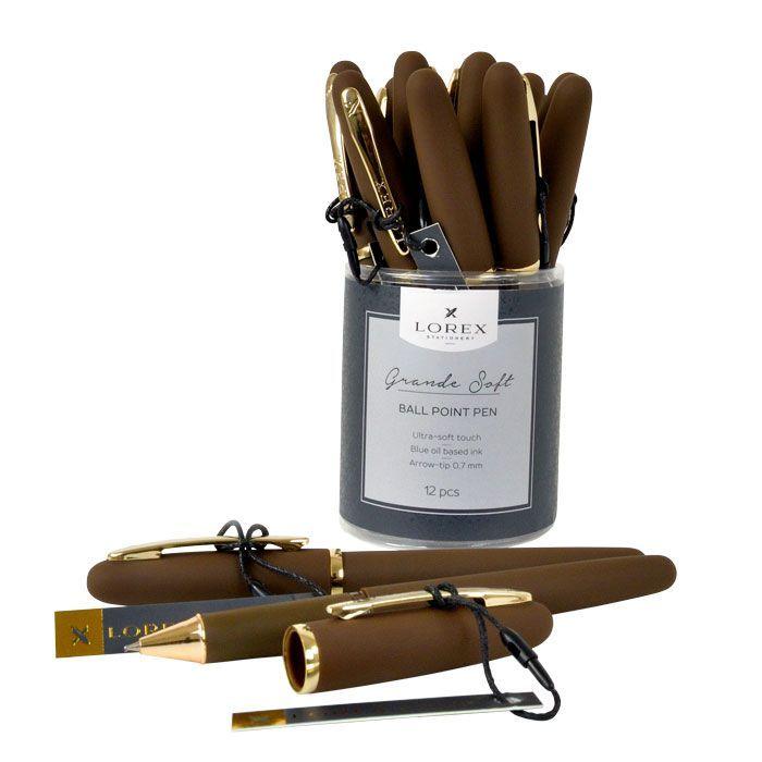Ручка масляная LOREX коричневый корпус, Grande Soft синяя, конусовидный наконечник, 0,7 мм