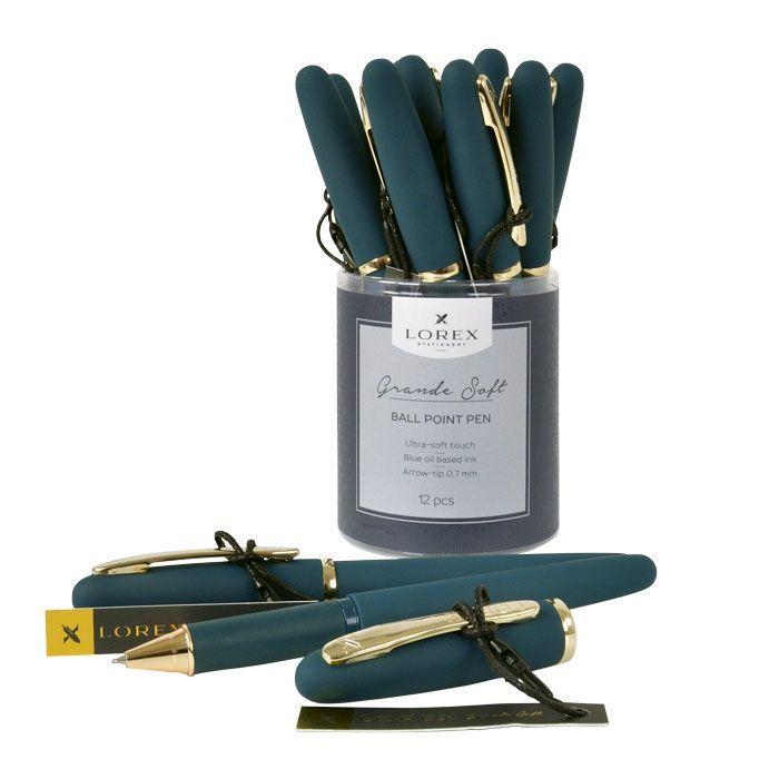 Ручка масляная LOREX темно-зеленый корпус, Grande Soft синяя, конусовидный наконечник, 0,7 мм