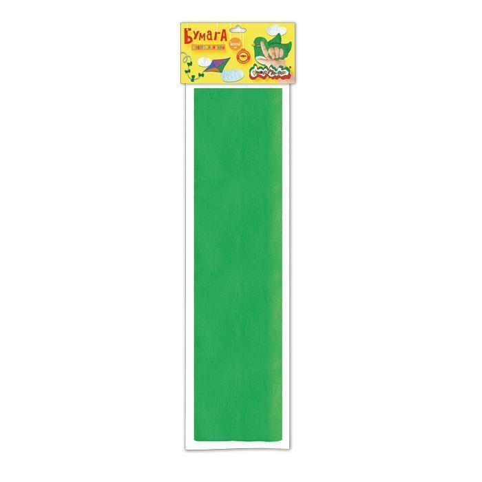 Бумага цветная Каляка-Маляка крепированная, 50х250 см, 32 г/м2, зеленая, в пакете с европодвесом