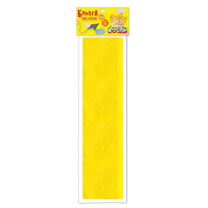 Бумага цветная Каляка-Маляка крепированная, 50х250 см, 32 г/м2, желтая, в пакете с европодвесом