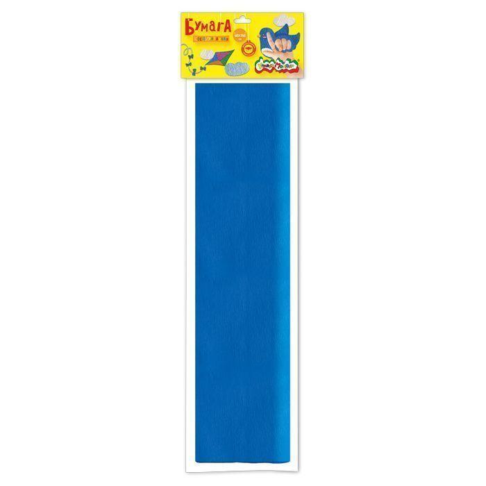 Бумага цветная Каляка-Маляка крепированная, 50х250 см, 32 г/м2, синяя, в пакете с европодвесом