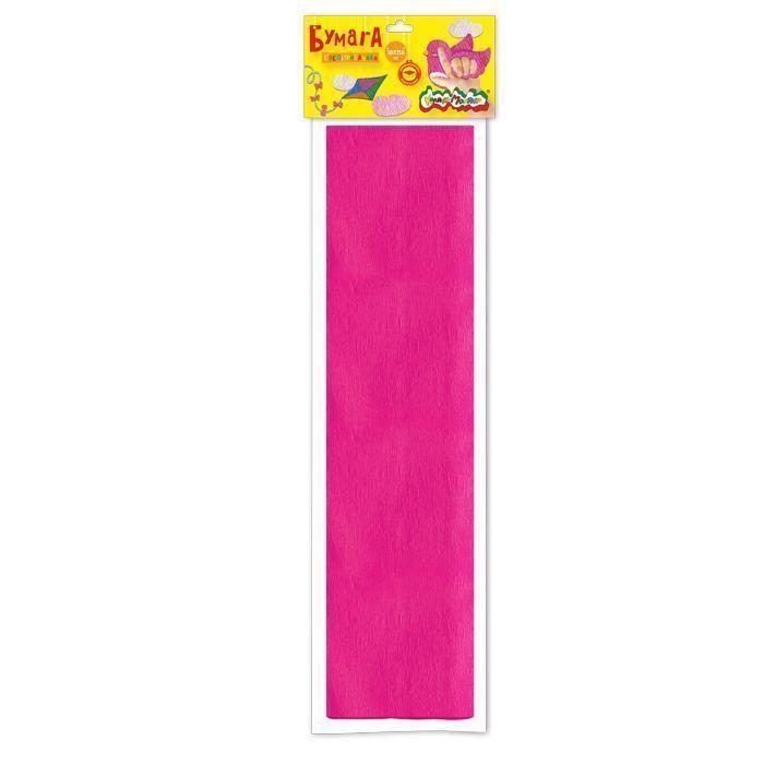 Бумага цветная крепированная Каляка-Маляка, 50х250 см, 32 г/м2, розовая, в пакете с европодвесом