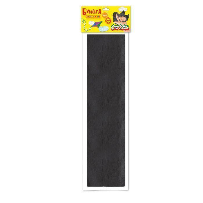 Бумага цветная крепированная Каляка-Маляка, 50х250 см, 32 г/м2, черная, в пакете с европодвесом