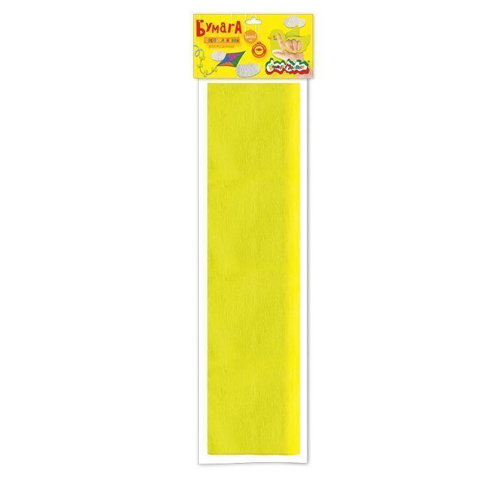 Бумага цветная крепированная Каляка-Маляка, флуоресцентная, 50х250 см, 32 г/м2, желтая, в пакете с европодвесом
