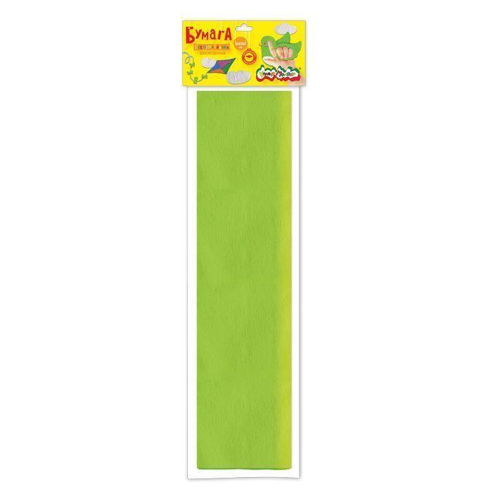 Бумага цветная крепированная флуоресцентная Каляка-Маляка, 50х250 см, 32 г/м2, салатовая, в пакете с европодвесом