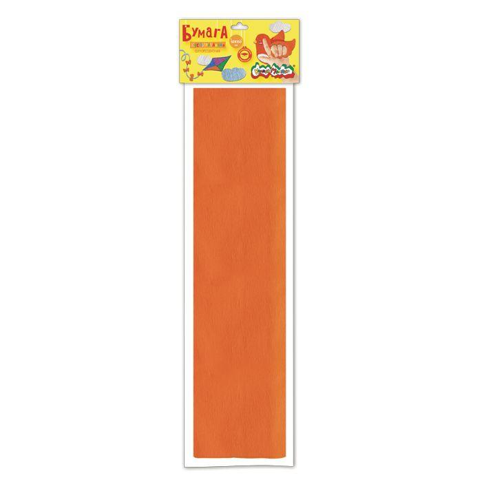 Бумага цветная крепированная флуоресцентная Каляка-Маляка, 50х250 см, 32 г/м2, оранжевая, в пакете с европодвесом