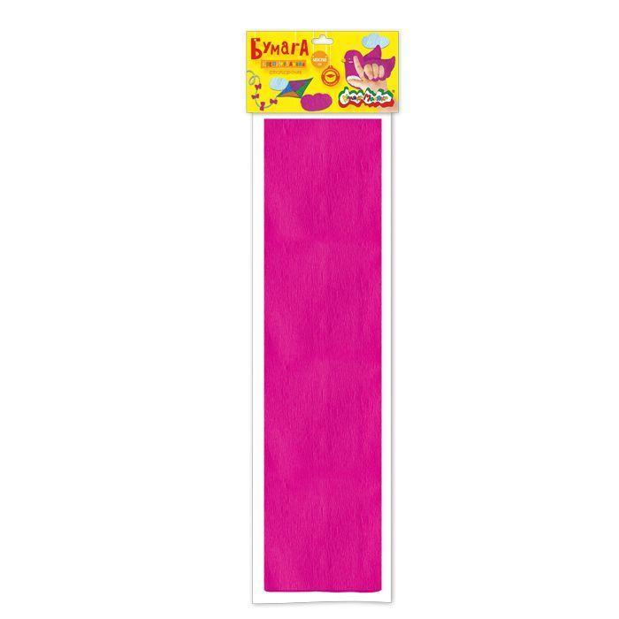 Бумага цветная крепированная флуоресцентная Каляка-Маляка, 50х250 см, 32 г/м2, фуксия, в пакете с европодвесом