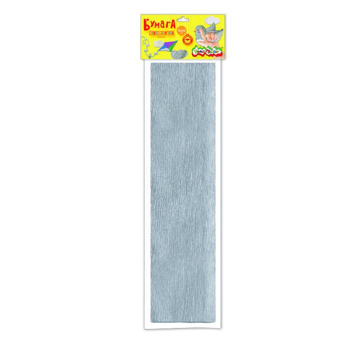 Бумага цветная крепированная Каляка-Маляка металлизированная, 50х250 см, 32 г/м2, серебряная, в пакете с европодвесом