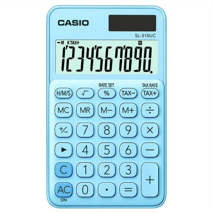 Калькулятор, CASIO SL-310UC-LB, 8 разрядный, карманный, голубой
