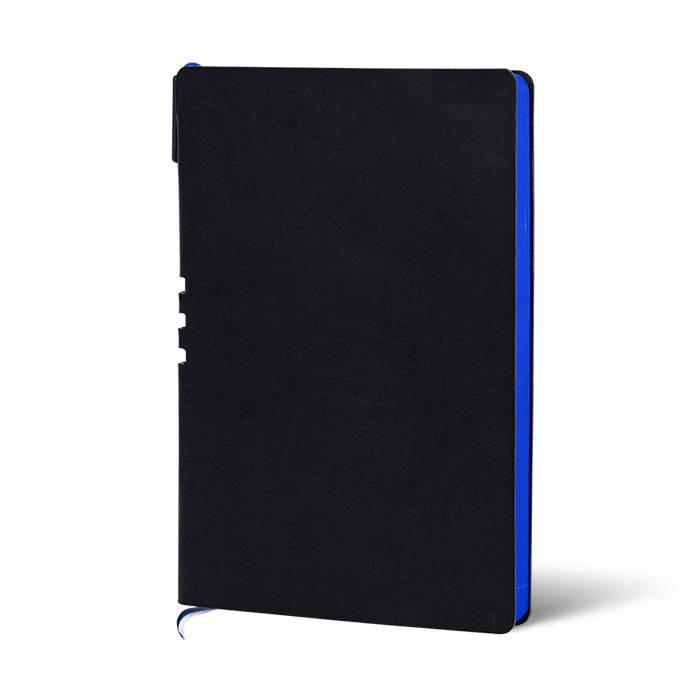 Ежедневник недатированный, А5, с ручкой, LOREX, 128 л., мягкая обложка, искусственная кожа, 70гр, бумага тонированная, черный,синий срез, ли