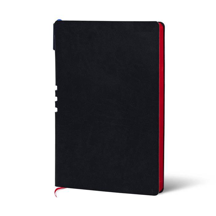 Ежедневник недатированный, А5, с ручкой, LOREX, 128 л., мягкая обложка, искусственная кожа, 70гр, бумага тонированная, черный, красный срез,