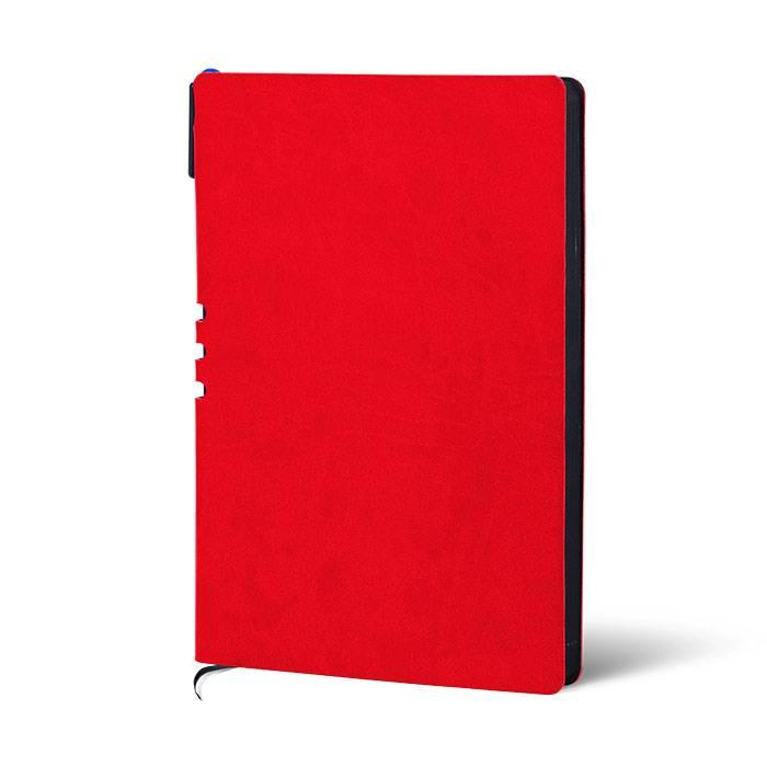 Ежедневник недатированный, А5, с ручкой LOREX 128 л, мягкая обложка, искусственная кожа, 70гр., бумага тонированная, красный, черный срез