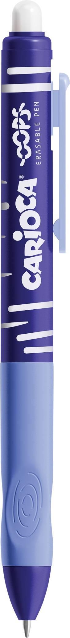 Ручка автоматическая со стираемыми чернилами CARIOCA OOPS RETRACTABLE 0,70 мм цвет синий резиновый грип круглый корпус «пиши-стирай»