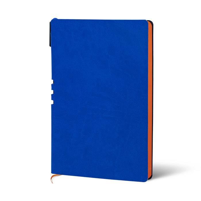 Ежедневник недатированный, 128л, А5, линия, LOREX, мягкая обложка, экокожа, 70 гр, бумага тонированная, синий,оранжевый срез, с ручкой