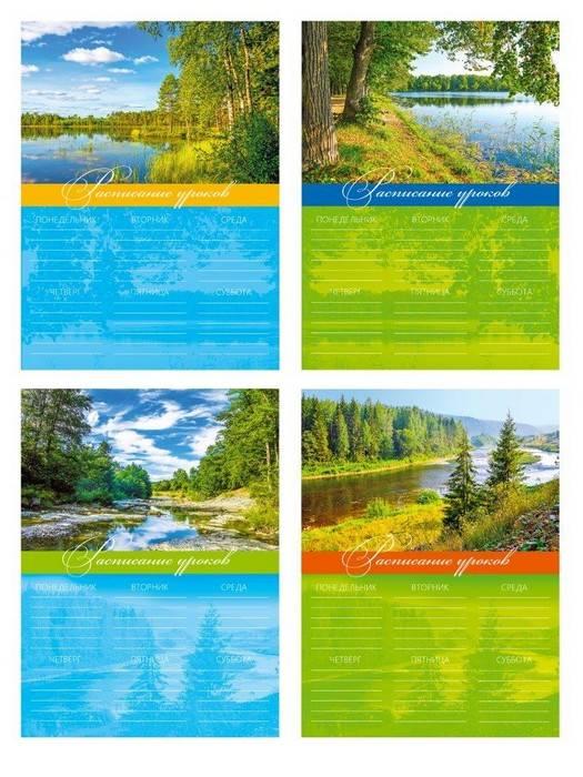 Расписание уроков А3 ПРИРОДА, мелованный картон, вертикальное, ассорти