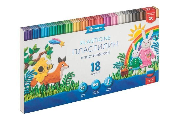 Пластилин GLOBUS КЛАССИЧЕСКИЙ 18 цв. 360 г со стеком