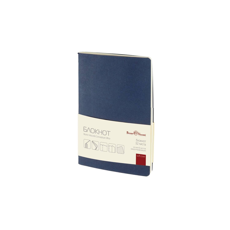 Бизнес-блокнот А6, 32 л., клетка, CONCEPTUAL OFFICE, синий 7БЦ, дизайнерский картон, 70 г/м2