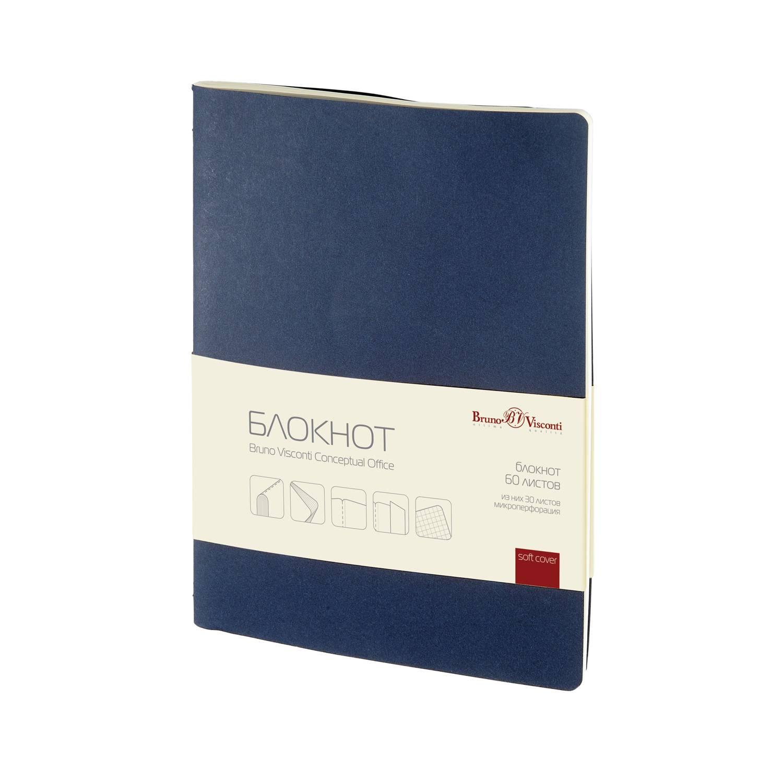 Бизнес-блокнот А4, 60 л., клетка, CONCEPTUAL OFFICE, синий 7БЦ, дизайнерский картон, 70 г/м2