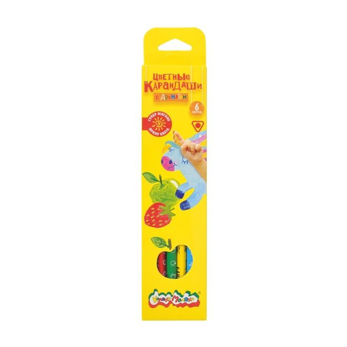Набор цветных карандашей Каляка-Маляка 6 цветов трехгранные дерев. ароматизированные