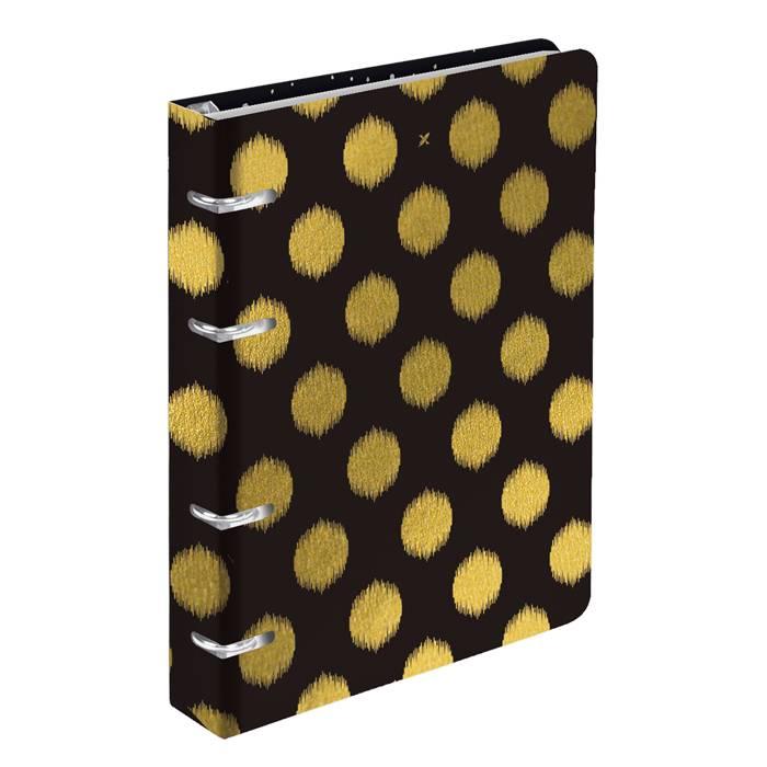Тетрадь со сменным блоком 120 л., А5, клетка, LOREX B&W, soft touch, металлизация, на кольцах