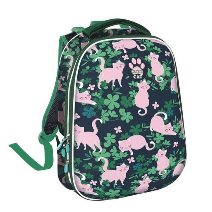 Рюкзак Schoolformat СТИЛЬНЫЕ КОТИКИ, модель ERGONOMIC 2, жесткий каркас, двухсекционный, 38х30х21 см, 17 л, для девочек